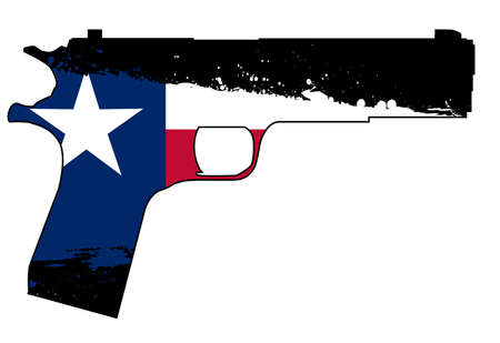 A typical 45 automatic hand gun isolated on white with Texas state flag inset
