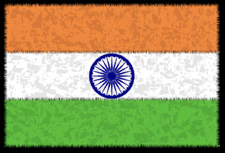 The flag of India in white green and orange with added grunge Banco de Imagens