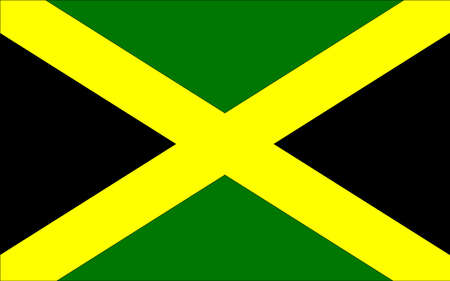 The flag of Jamaica with cross and black and gold
