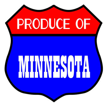 Route 66 style traffic sign with the legend Produce Of Minnesota Illusztráció