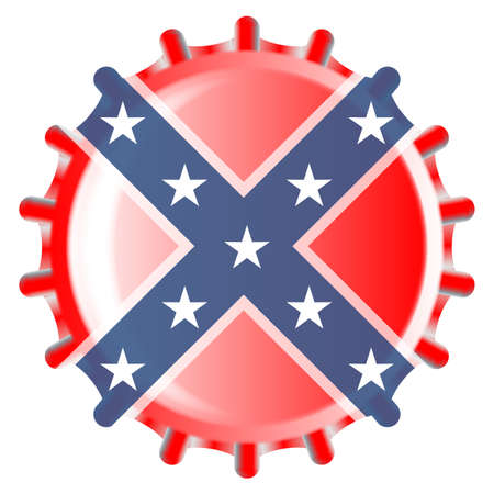 Una típica tapa de botella de vidrio de metal en los colores de la bandera del estado de Mississippi aislado sobre un fondo blanco.