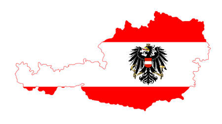 The Austrian flag with the coat of arms over layed inset intoa outline of the map of Austria on white