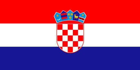 The natonal flag of croatia with emblems Ilustração