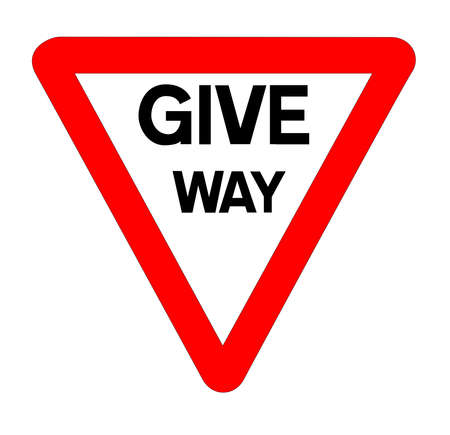 The traditional 'GIVE WAY' traffic sign isolated on a white background Ilustrace