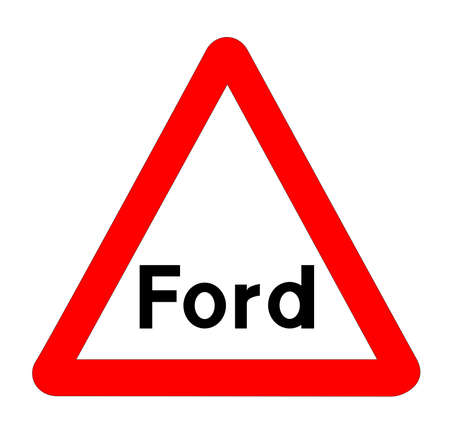 The traditional 'FORD' triangle, traffic sign isolated on a white background..