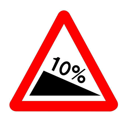 The traditional 10% INCLINE triangle, traffic sign isolated on a white background..