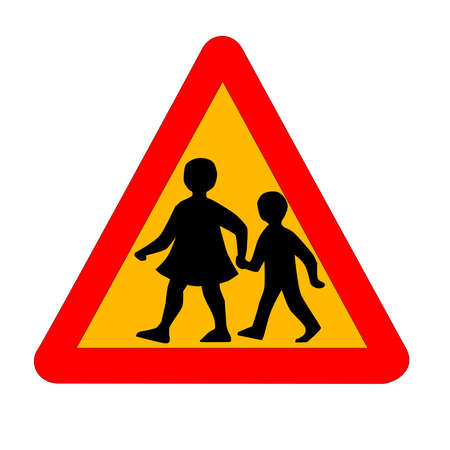 The traditional amber 'children crossing' traffic sign isolated on a white background..
