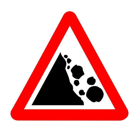 The traditional 'DANGER FALLING ROCKS' triangle, traffic sign isolated on a white background..