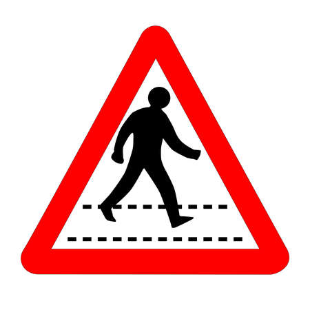 The traditional 'PEDESTRIAN' triangle, traffic sign isolated on a white background..