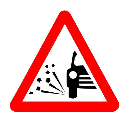 The traditional 'STONE CHIPPING WARNING' triangle, traffic sign isolated on a white background.. Zdjęcie Seryjne - 129826056