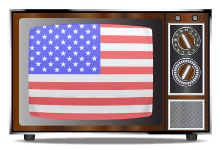 An old wood surround television receiver over a white background with Old Glory