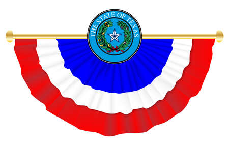 Red white and blue Texan seal and bunting over a white background