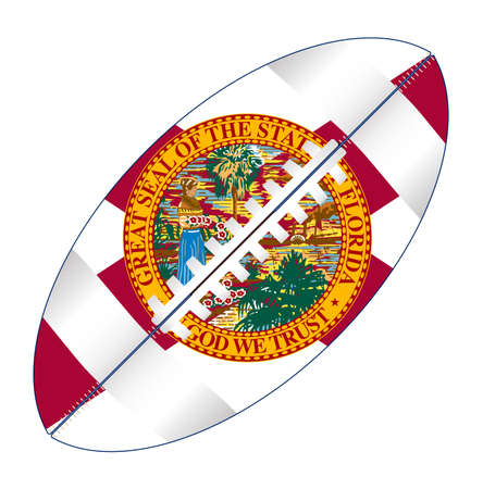 A typical american type foorball over a white background with the flag of Florida