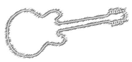 A black outline silhouette of a generic guitar shape with scribble otline on a white background