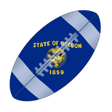 A typical american type foorball over a white background with the flag of Oregon