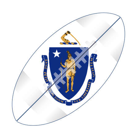 A typical american type foorball over a white background with the flag of Massachusetts