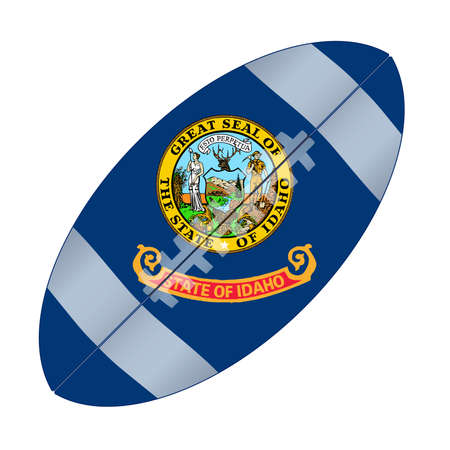 A typical american type foorball over a white background with the flag of Idaho