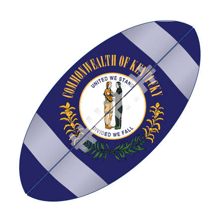 A typical american type foorball over a white background with the flag of Kentucky