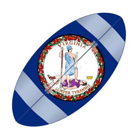 A typical american type foorball over a white background with the flag of Virginia