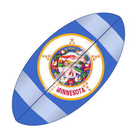 A typical american type foorball over a white background with the flag of Minnesota