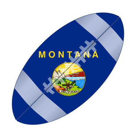 A typical american type foorball over a white background with the flag of Montana Illustration