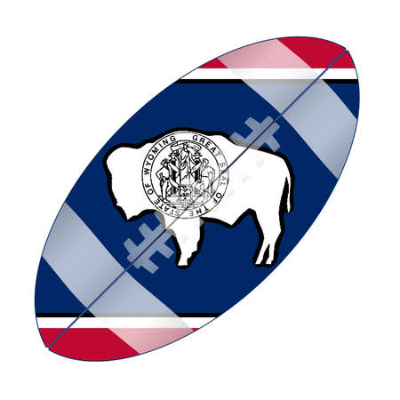 A typical american type foorball over a white background with the flag of Wyoming Illustration