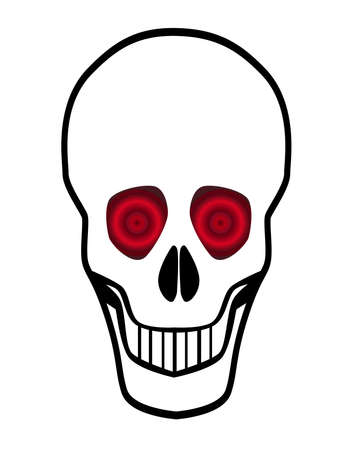 A pirate style cartoon skull with red eyes