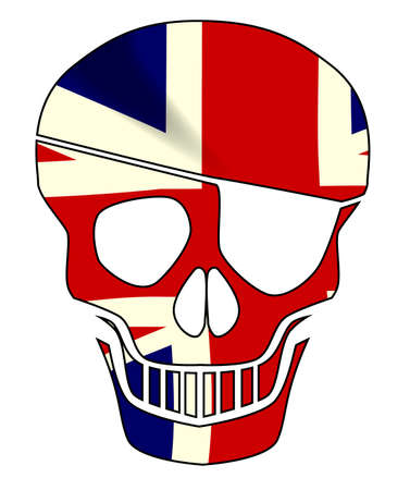 Union Jack flag skull silhouette with eye patch all in red over a black background