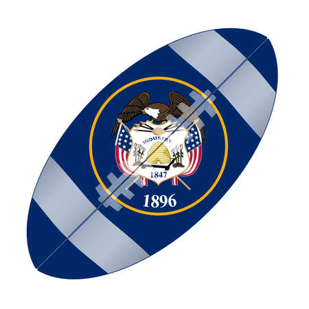 A typical american type foorball over a white background with the flag of Utah