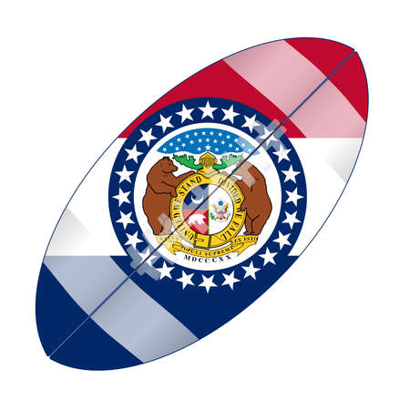 A typical american type foorball over a white background with the flag of Missouri