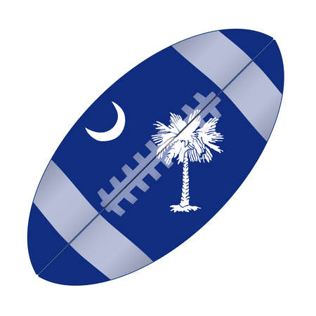 A typical american type foorball over a white background with the flag of South Carolina
