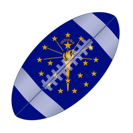 A typical american type foorball over a white background with the flag of Indiana