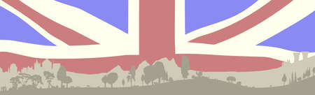 Silhouette of a wooded foreground set on a hill background with buildings anf faded Union Jack flag