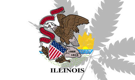 Illinois state flag with the shadow of a marijuana leaf