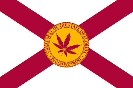 The flag of the USA state of Florida with spoof marijuana leaf Stock Illustratie
