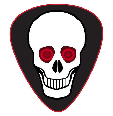 A typical human skull on a black isolated guitar pic Stock Illustratie