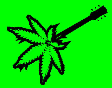 Typical rock and roll guitar in marijuana green silhouette on a green background