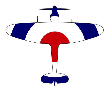 A typical WW2 British fighter plane with a red white and blue roundel silhouette on a white background