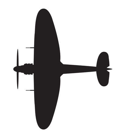 A typical WW2 British fighter plane silhouette on a white background Illustration