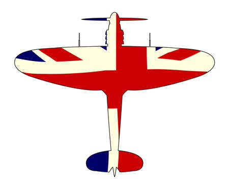 A typical WW2 British fighter plane with Union Jack Flag silhouette on a white background Illustration