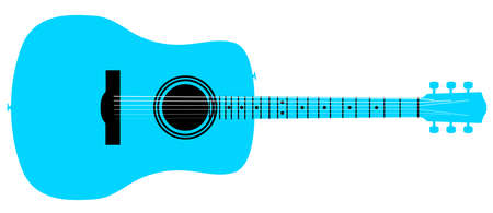A typical acoustic guitar in blue isolated over a white background.