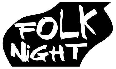 A typical acoustic guitar silhouette isolated over a white background with text Folk Night