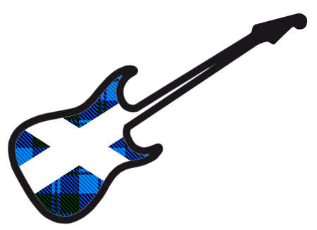 A traditional solid body electric guitar isolated over white with a spoof tartan Scottish flag Illustration