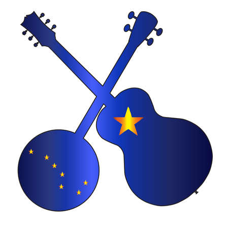 A typical four string banjo in silhouette with an acoustic guitar over the Alaska state flag on a white background