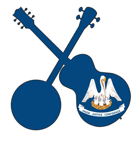 A typical four string banjo in silhouette with an acoustic guitar over the Louisiana state flag on a white background