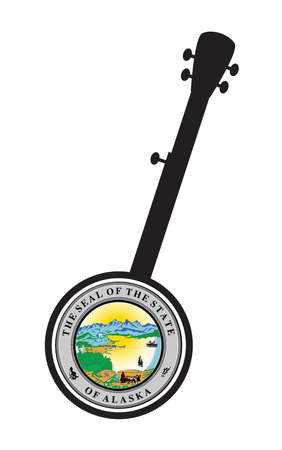 A typical five string banjo in silhouette on a white background woth the Icon from the state seal of Alaska