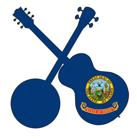 A typical four string banjo in silhouette with an acoustic guitar over the Idaho state flag on a white background