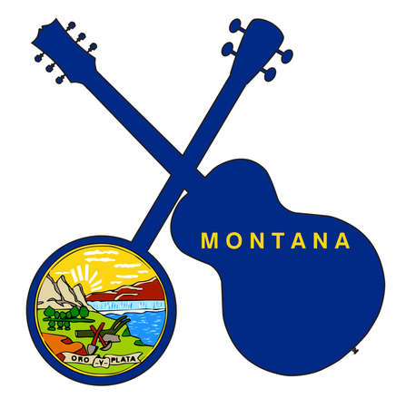 A typical four string banjo in silhouette with an acoustic guitar over the Montana state flag on a white background