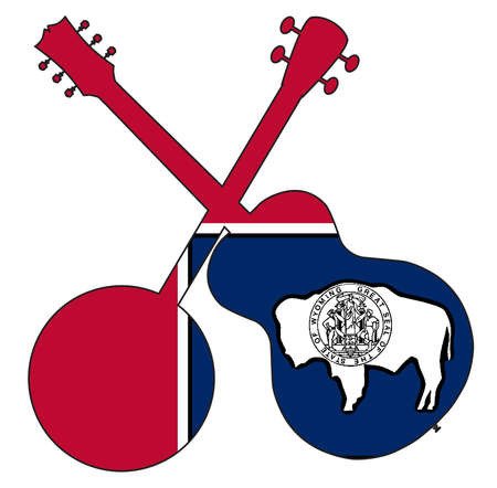 A typical four string banjo in silhouette with an acoustic guitar over the Wyoming state flag on a white background