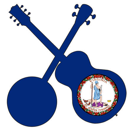 A typical four string banjo in silhouette with an acoustic guitar over the Virginia state flag on a white background